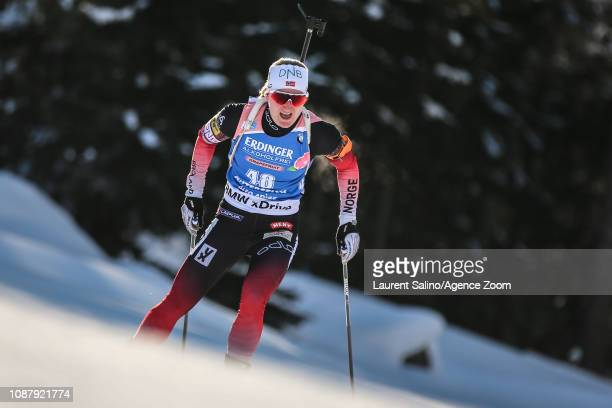 Marte Olsbu Roeiseland of Norway takes 3rd place during the IBU Biathlon World Cup Women's Sprint on January 24 2019 in Antholz Anterselva Italy