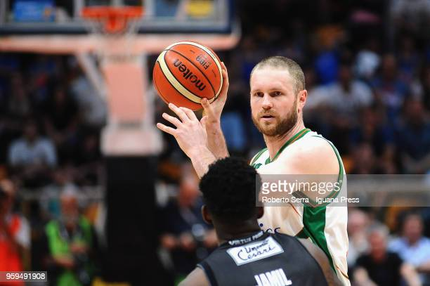 Marteen Leunen of Sidigas competes with Jamil Wilson of Segafredo during the LBA LegaBasket match between Virtus Segafredo Bologna and Scandone...