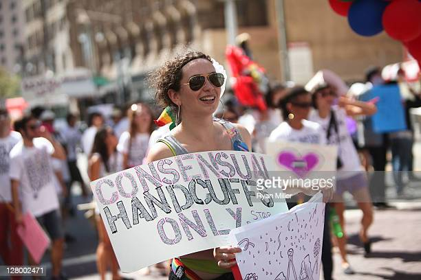 Martel Wasserman walks during the Trespass Parade through downtown Los Angeles and ending at the Museum of Contemporary Art to celebrate Pacific...