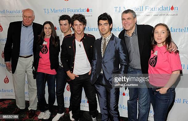 J Martell Foundation CEO Peter Quinn Elizabeth Alareo of the TJ Martel Foundation singers Kevin Jonas Nick Jonas and Joe Jonas of the group The Jonas...