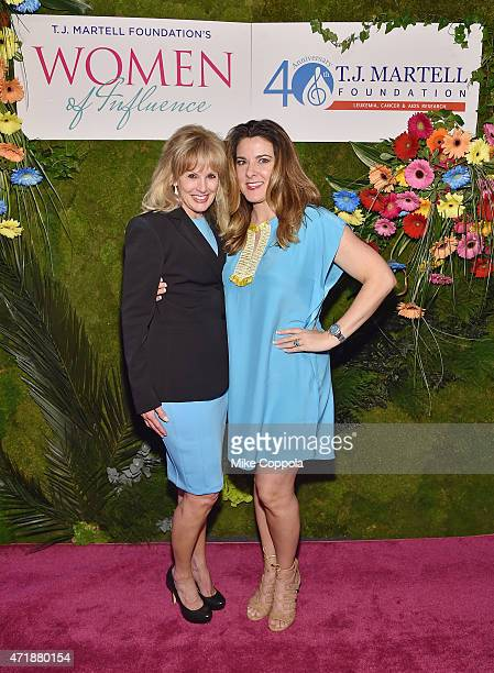 J Martell Foundation Laura Heatherly and Designer Elaine Turner attend the TJ Martell Foundation's Women of Influence Awards on May 1 2015 in New...