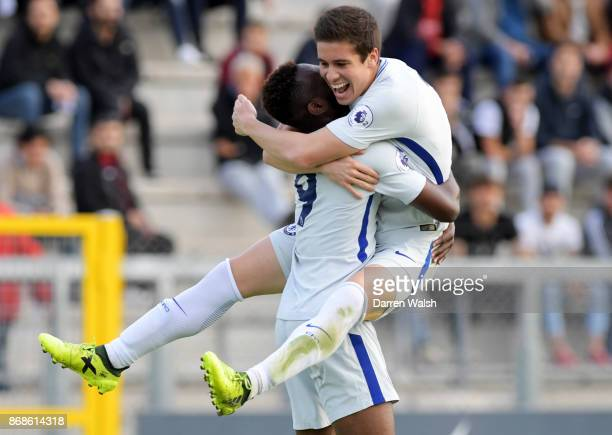 Martell TaylorCrossdale of Chelsea celebrates his goal with Harvey St Clair during the UEFA Youth League match between AS Roma and Chelsea FC at...