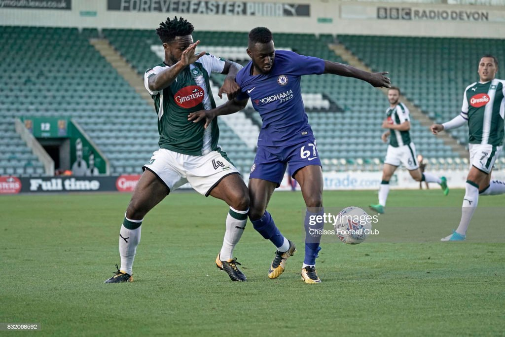 Martell Taylor-Crossdale of Chelsea during the Checkatrade Trophy match at Home Park on August 15, 2017 in Plymouth, England.
