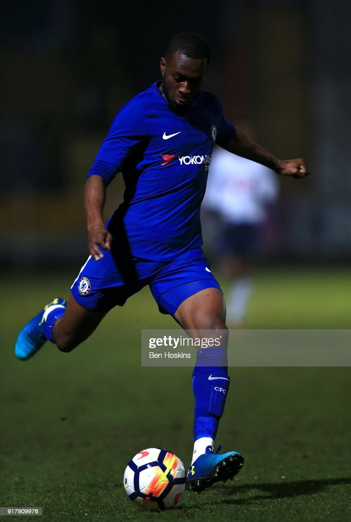 Martell Taylor-Crossdale of Chelsea in action during the FA Youth Cup match between Tottenham Hotspur and Chelsea at The Lamex Stadium on February 13, 2018 in Stevenage, England.
