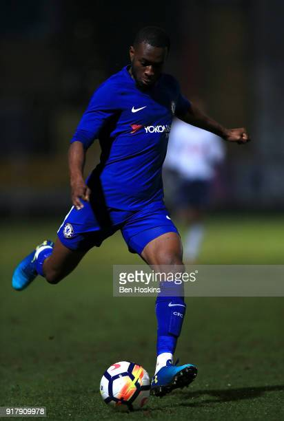 Martell TaylorCrossdale of Chelsea in action during the FA Youth Cup match between Tottenham Hotspur and Chelsea at The Lamex Stadium on February 13...