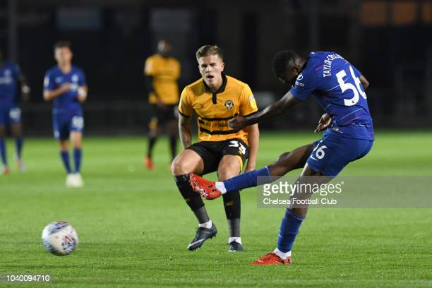 Martell TaylorCrossdale of Chelsea shoots for goal during the Newport County AFC v Chelsea U21 Checkatrade Trophy Match at Rodney Parade on September...