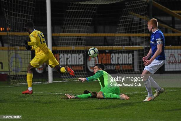 Martell TaylorCrossdale of Chelsea tries to chip Joao Virginia of Everton during the Everton v Chelsea Premier League 2 match at Merseyrail Community...