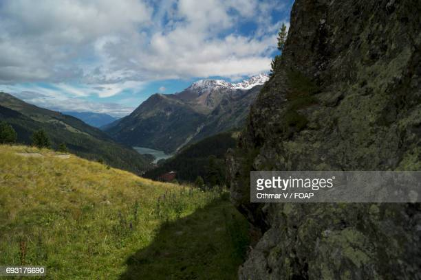 martell valley during winter - martell valley italy stock photos and pictures