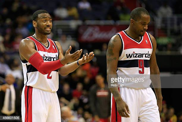 Martell Webster looks on as teammate John Wall of the Washington Wizards argures a foul call against him during the second half of the Wizards 11397...