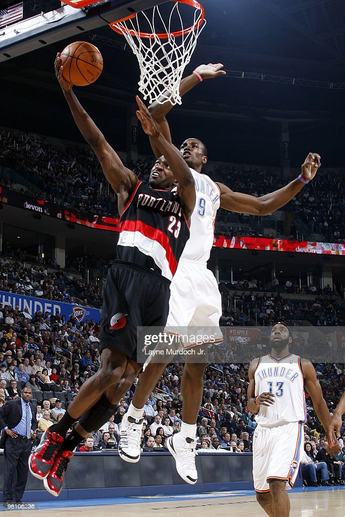 Martell Webster #23 of the Portland Trail Blazers goes to the basket against Serge Ibaka #9 of the Oklahoma City Thunder on March 28, 2010 at the Ford Center in Oklahoma City, Oklahoma.