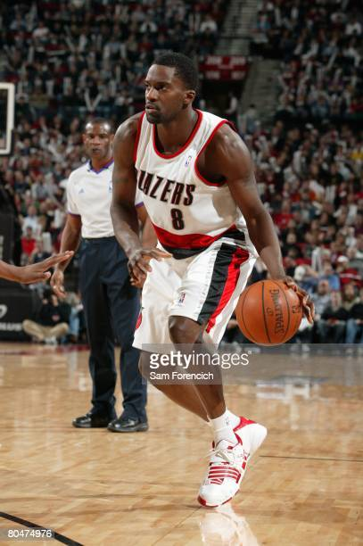Martell Webster of the Portland Trail Blazers looks to make a move during the game against the Washington Wizards at the Rose Garden Arena on March...