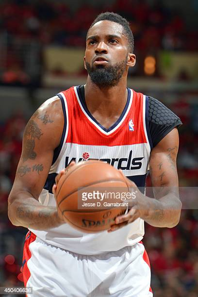 Martell Webster of the Washington Wizards attempts a free throw against the Indiana Pacers in Game Six of the Eastern Conference Semifinals during...