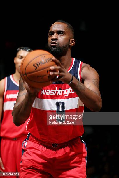 Martell Webster of the Washington Wizards attempts a free throw against the Brooklyn Nets on April 10 2015 at the Barclays Center in the Brooklyn...