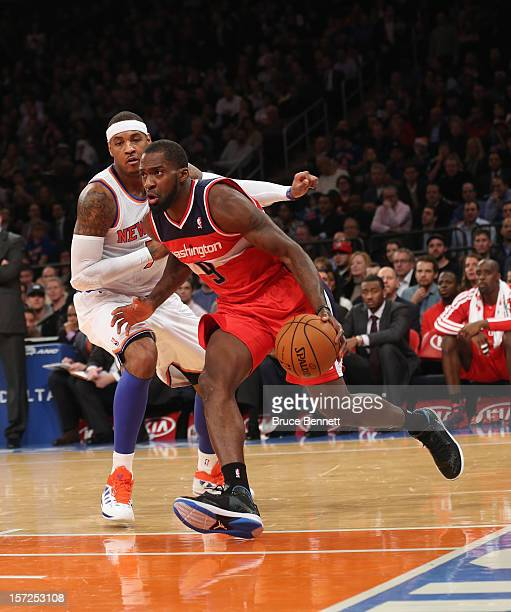 Martell Webster of the Washington Wizards dribbles the ball against the New York Knicks at Madison Square Garden on November 30 2012 in New York City...