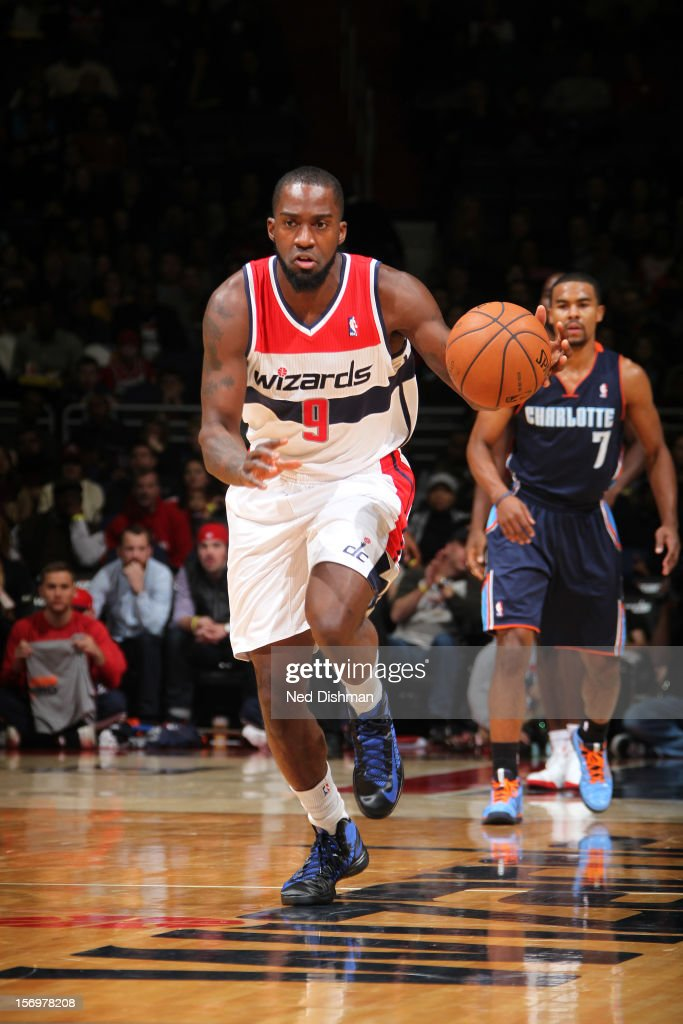 Martell Webster #9 of the Washington Wizards dribbles the ball upcourt against the Charlotte Bobcats during the game at the Verizon Center on November 24, 2012 in Washington, DC.