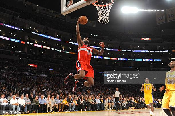 Martell Webster of the Washington Wizards drives to the basket on a fast break against the Los Angeles Lakers at Staples Center on March 22 2013 in...