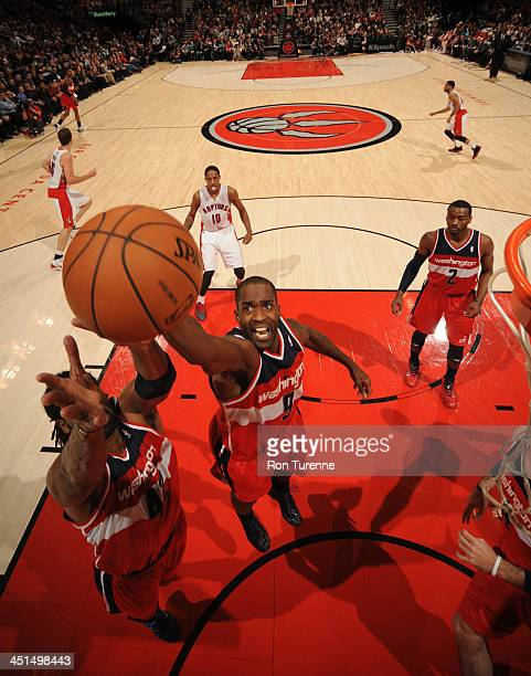 Martell Webster of the Washington Wizards grabs a rebound against the Toronto Raptors on November 22 2013 at the Air Canada Centre in Toronto Ontario...