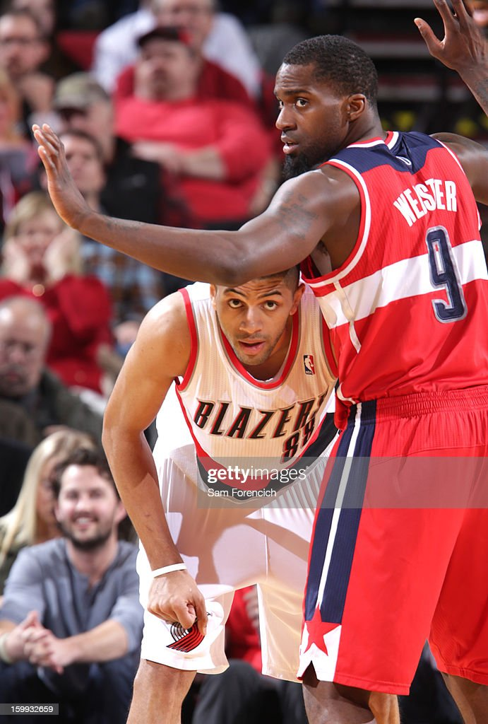 Martell Webster #9 of the Washington Wizards guards Nicolas Batum #88 of the Portland Trail Blazers on January 21, 2013 at the Rose Garden Arena in Portland, Oregon.
