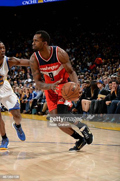 Martell Webster of the Washington Wizards handles the ball against the Golden State Warriors on March 23 2015 at Oracle Arena in Oakland California...