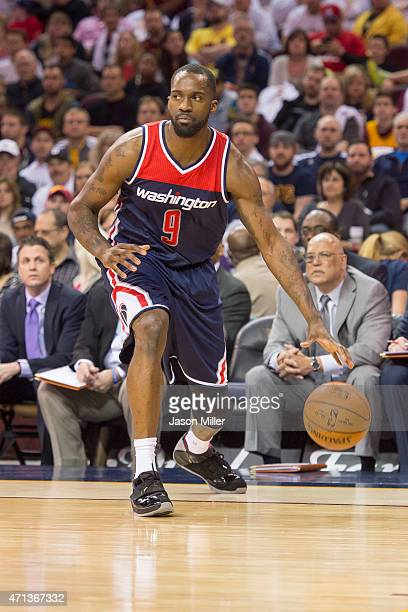 Martell Webster of the Washington Wizards looks for a play during the second half against the Cleveland Cavaliers at Quicken Loans Arena on April 15...