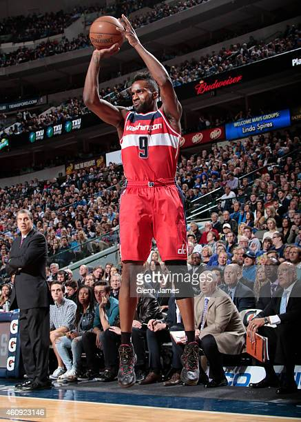 Martell Webster of the Washington Wizards shoots a jumper against the Dallas Mavericks on December 30 2014 at the American Airlines Center in Dallas...