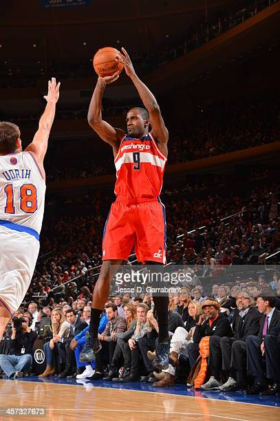 Martell Webster of the Washington Wizards shoots against the New York Knicks on December 16 2013 at Madison Square Garden in New York City New York...