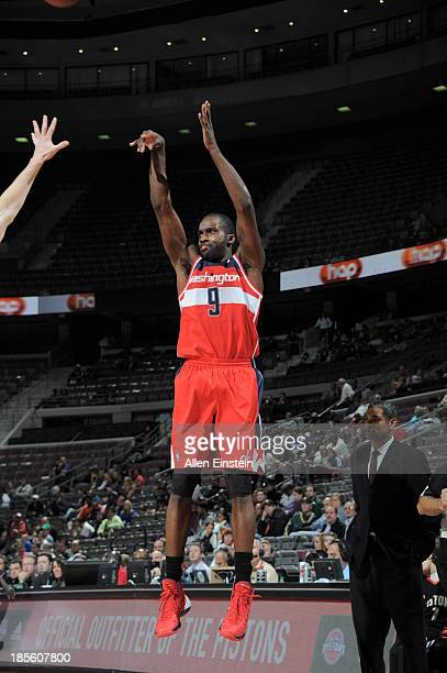 Martell Webster of the Washington Wizards shoots the ball against the Detroit Pistons during the game on October 22 2013 at The Palace of Auburn...