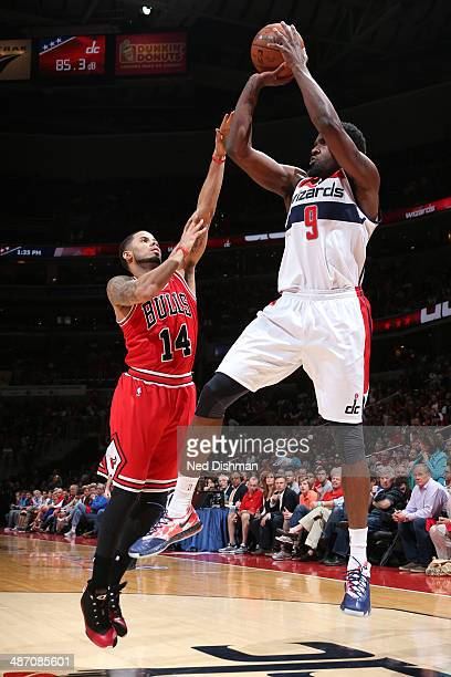 Martell Webster of the Washington Wizards takes a shot against the Chicago Bulls during Game Four of the Eastern Conference Quarterfinals on April 27...