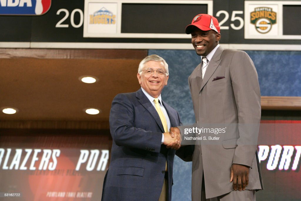 Martell Webster shakes hands with NBA Commissioner David Stern after being selected #6 by the Portland Trail Blazers during the 2005 NBA Draft on June 28, 2005 at The Theater at Madison Sqaure Garden in New York City.