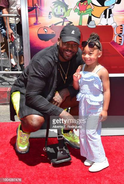 Martellus Bennett and Jett Bennett attend the premiere of Warner Bros Animation's Teen Titans Go To The Movies at TCL Chinese Theatre IMAX on July 22...