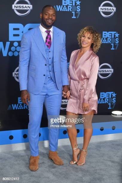 Martellus Bennett and Siggi Walker attend the 2017 BET Awards at Microsoft Theater on June 25 2017 in Los Angeles California