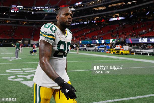 Martellus Bennett of the Green Bay Packers walks off the field after being defeated by the Atlanta Falcons 3423 at MercedesBenz Stadium on September...