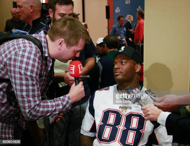Martellus Bennett of the New England Patriots answers questions during Super Bowl LI media availability at the JW Marriott on February 2 2017 in...