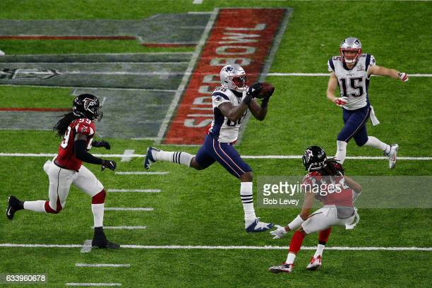 Martellus Bennett of the New England Patriots attempts to catch the ball against the Atlanta Falcons during the second quarter during Super Bowl 51...