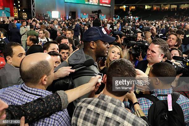 Martellus Bennett of the New England Patriots speaks with the media during Super Bowl 51 Opening Night at Minute Maid Park on January 30 2017 in...