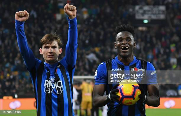 Marten De Roon and Duvan Zapata of Atalanta BC celebrate the victory after the Serie A match between Udinese and Atalanta BC at Stadio Friuli on...