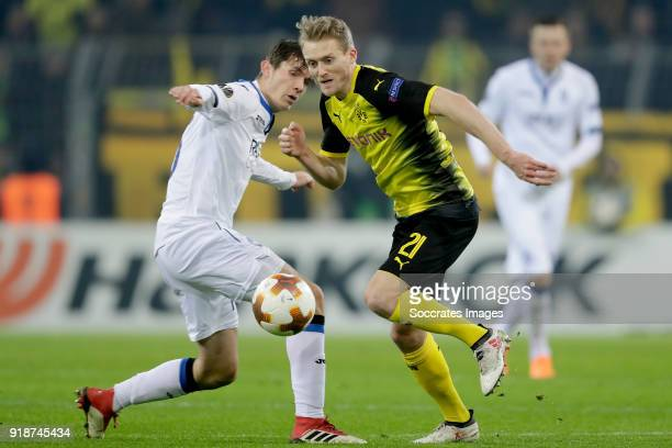 Marten de Roon of Atalanta Andre Schurrle of Borussia Dortmund during the UEFA Europa League match between Borussia Dortmund v Atalanta Bergamo at...