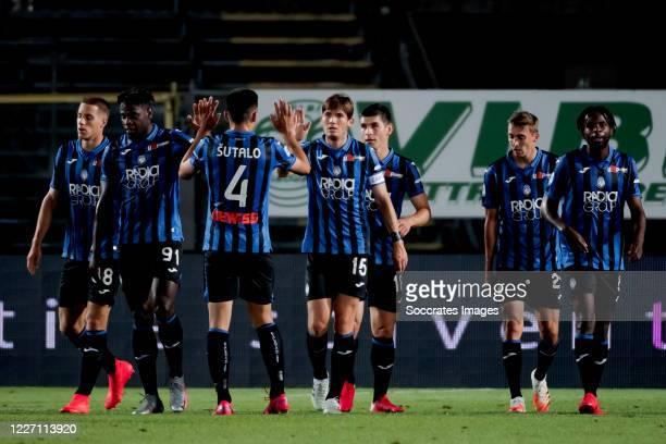 Marten de Roon of Atalanta Bergamo celebrates 21 with Bosko Sutalo of Atalanta Bergamo during the Italian Serie A match between Atalanta Bergamo v...