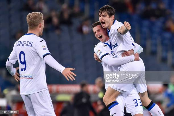Marten de Roon of Atalanta celebrates scoring second goal during the Serie A match between Roma and Atalanta at Stadio Olimpico Rome Italy on 6...