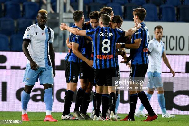 Marten De Roon of Atalnta BC celebrate a third goal with his team mates during the Serie A match between Atalanta BC and SS Lazio at Gewiss Stadium...