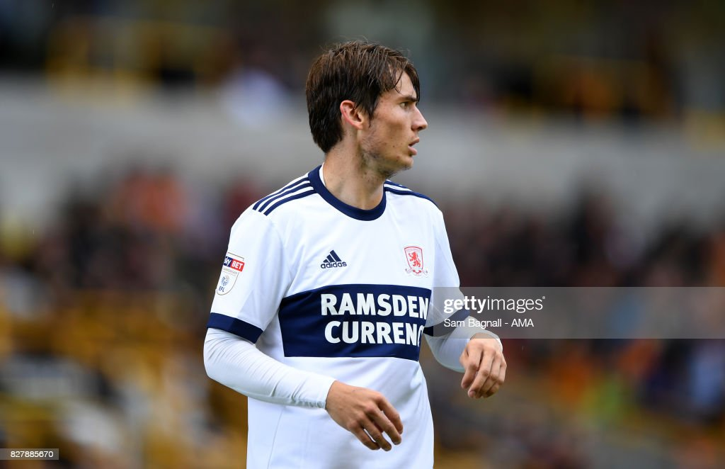 Marten de Roon of Middlesborough during the Sky Bet Championship match between Wolverhampton and Middlesbrough at Molineux on August 5, 2017 in Wolverhampton, England.