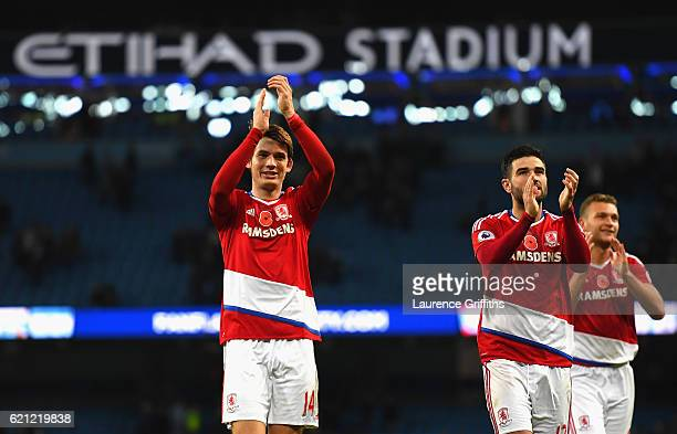 Marten de Roon of Middlesbrough and Antonio Barragan of Middlesbrough shows appreciation to the fans after the final whistle during the Premier...