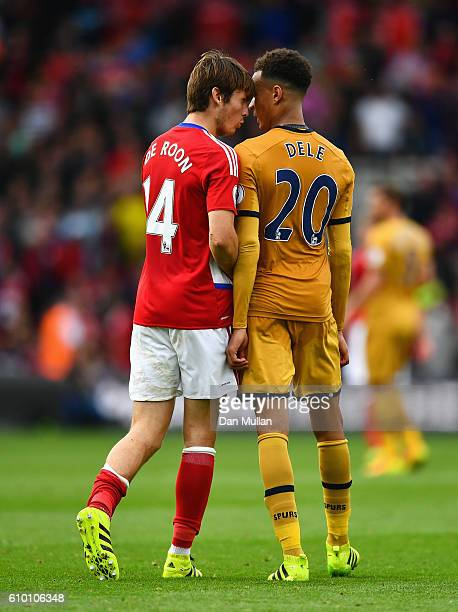 Marten de Roon of Middlesbrough and Dele Alli of Tottenham Hotspur confront each other during the Premier League match between Middlesbrough and...