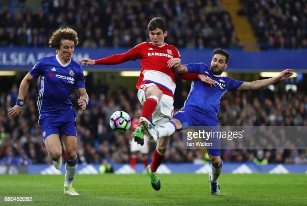 Marten de Roon of Middlesbrough and Diego Costa of Chelsea in action Antonio Barragan of Middlesbrough during the Premier League match between...