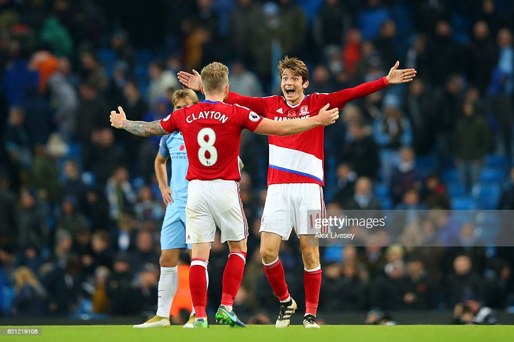 Marten de Roon of Middlesbrough (R) celebrates scoring his sides first goal with Adam Clayton of Middlesbrough (L) during the Premier League match between Manchester City and Middlesbrough at Etihad Stadium on November 5, 2016 in Manchester, England.