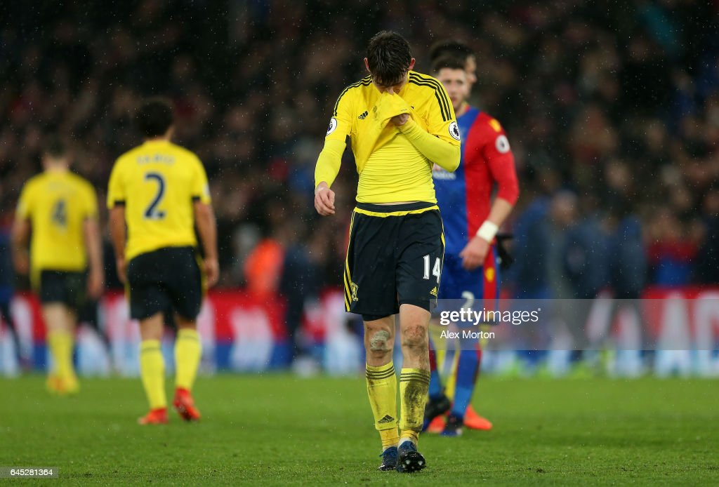 Marten de Roon of Middlesbrough is dejected as he walks off after the Premier League match between Crystal Palace and Middlesbrough at Selhurst Park on February 25, 2017 in London, England.