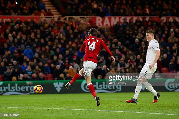 Marten de Roon of Middlesbrough scores his sides third goal during the Premier League match between Middlesbrough and Swansea City at Riverside...