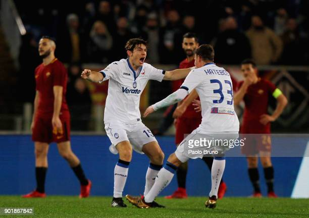 Marten De Roon with his teammate Hans Hateboer of Atalanta BC celebrates after scoring the team's second goal during the serie A match between AS...