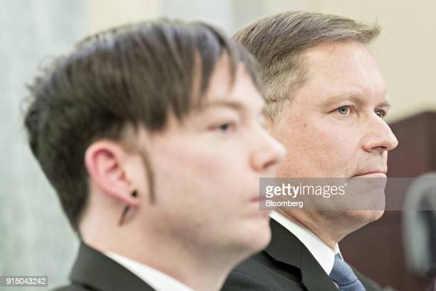 Marten Mickos chief executive officer of HackerOne Inc right and John Flynn chief information security officer of Uber Technologies Inc listen during...