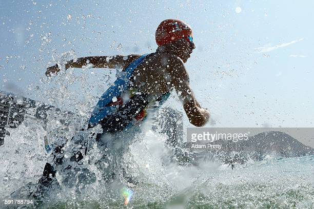 Marten van Riel of Belgium enters the water during the Men's Triathlon at Fort Copacabana on Day 13 of the 2016 Rio Olympic Games on August 18, 2016...